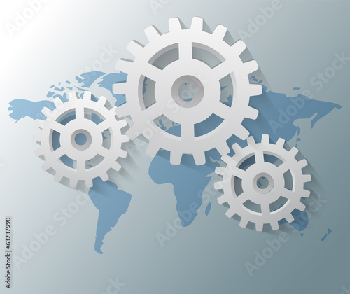 Illustration of gears with world map