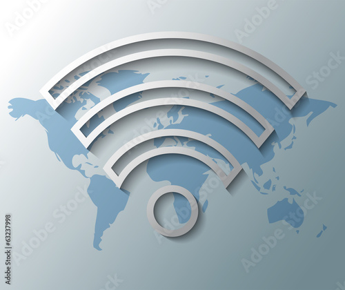 Illustration of wifi symbol with world map
