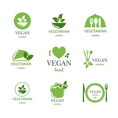 Vector Illustration of Vegan and Vegetarian Food Emblems