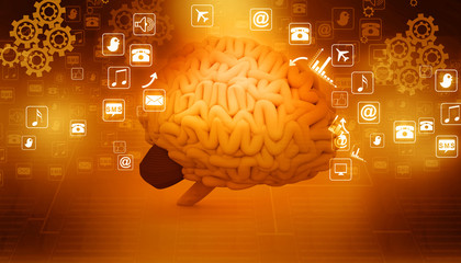 Human brain  with internet icons