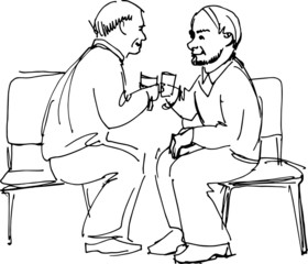 two grandfathers drink sitting on chairs