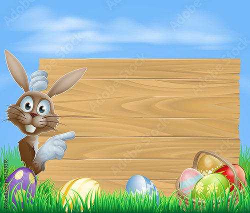 Pointing Easter bunny wooden sign