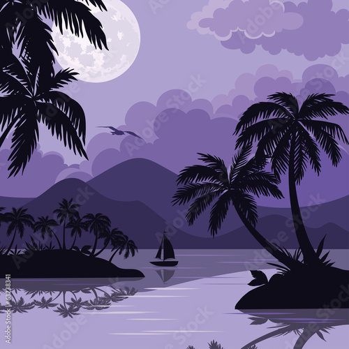 Tropical sea landscape with moon and palm