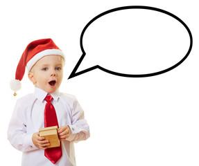 Kind zu Weihnachten mit Sprechblase
