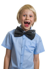 Very excited and surprised boy in bow tie