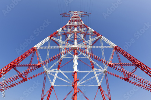 electricity high voltage pylon perspective view