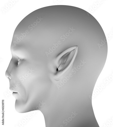 Alien head isolated on white background 3d hires ray-traced