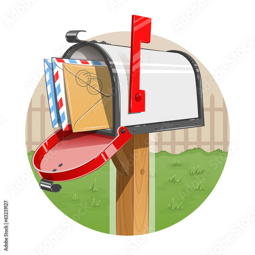Mail box with letters. Eps10 vector illustration. Isolated on
