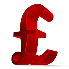 Red pound sterling sign on white