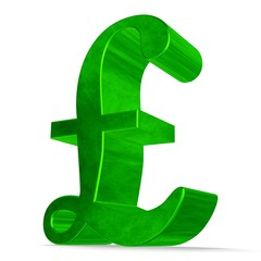 Green pound sterling sign on white