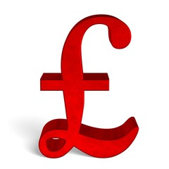 Red pound sterling sign on white front view