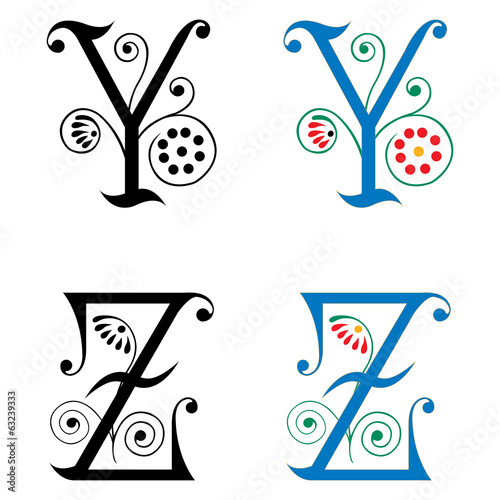 Spring style, basic decoration English alphabets, letter Y and Z