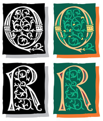 Medieval style English alphabet letters, Q and R, mono and color
