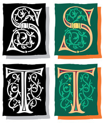 Medieval style English alphabet letters, S and T, mono and color