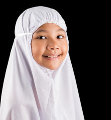 Young Asian Muslim girl in white hijab