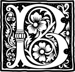 English alphabet with flowers decoration, monochrome letter B