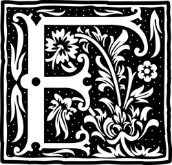 English alphabet with flowers decoration, monochrome letter F