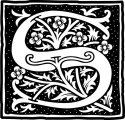 English alphabet with flowers decoration, monochrome letter S