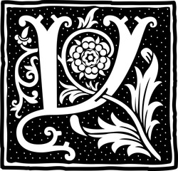 English alphabet with flowers decoration, monochrome letter Y
