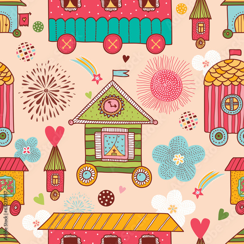 Номе sweet home. Seamless pattern.