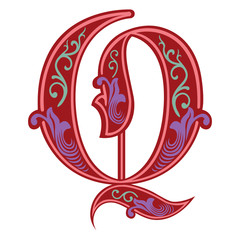 Beautiful decoration English alphabets, Gothic style, letter Q