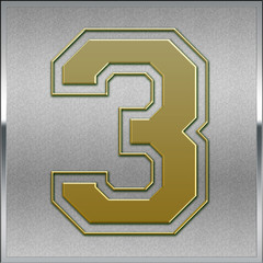 Gold on Silver Number 3 Position, Place Sign