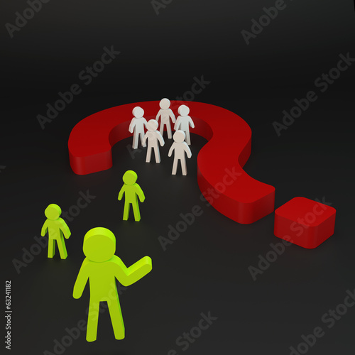 Green person and Group person in red question mark