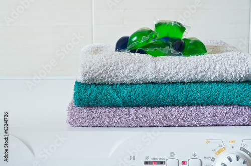 Capsule detergent on top of washing machine