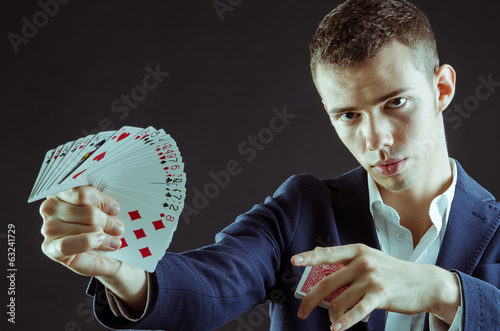 Magician Showing Cards
