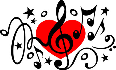 Musik Noten Herz Notenschlüssel Vektor