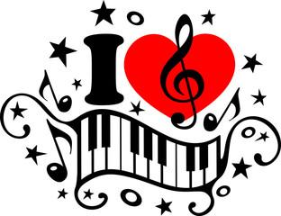 I Love Music - Musik Herz Piano Notenschlüssel