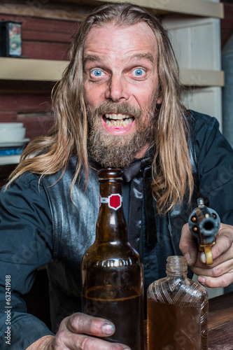 Crazed Western Man at Table