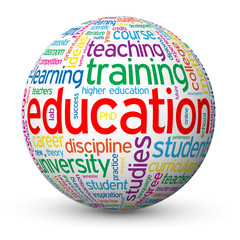 """EDUCATION"" Tag Cloud Globe (training university exam degree)"