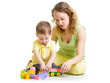 child and mom play with block toys