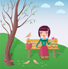 Cute girl having lunch in the park and feeding the birds
