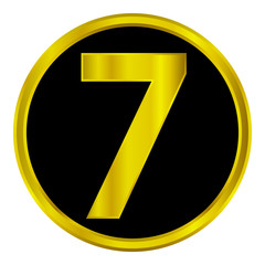 Gold number seven button