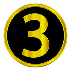 Gold number three button