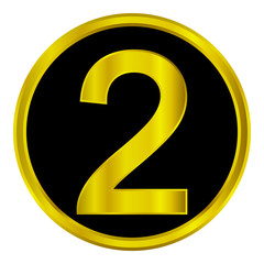 Gold number two button