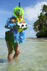 Funny Brazilian Soccer Fan on Beach