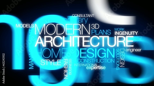 Modern architecture home design house plans tag cloud animation