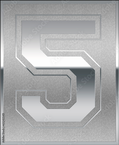 Silver Casted Number 5 Position, Place Sign
