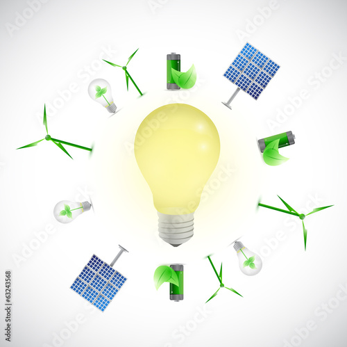 light bulb green energy concept illustration
