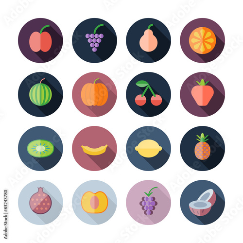 Flat Design Icons For Fruits
