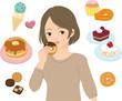 ドーナツを食べる女性と洋菓子