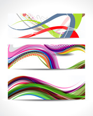 Abstract Colorful Wave Banner Set