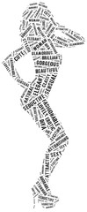 Word cloud of sexy posing woman silhouette