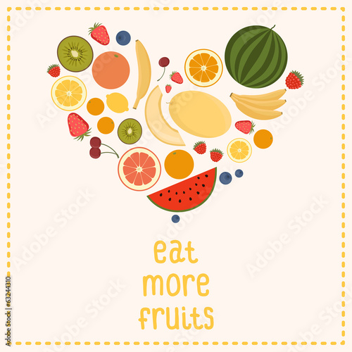 Heart From Fruit, Isolated, Vector Illustration. Eat more fruits