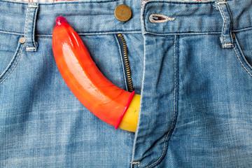Condom banana jeans