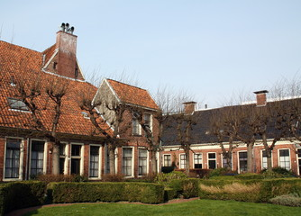 Old houses in the guesthouse (Pepergasthuis) in Groningen