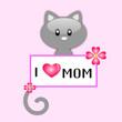 Gatto con messaggio d'auguri per la festa della mamma